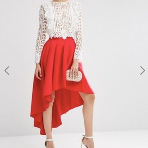 Asos High Low Bright Red Scuba Skirt - 4